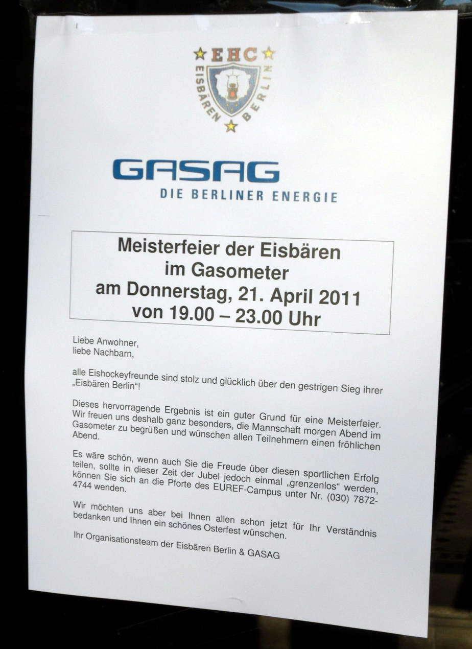 Ankündigung Gasag: Siegesfeier Eisbären
