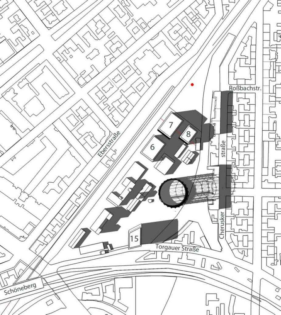 Simulation: Verschattungsplan Gasometergelände - Simulation der Verschattung durch Baukörper auf dem Gebiet des Bebauungsplan 7-29 und durch angrenzende Gebäude im Osten