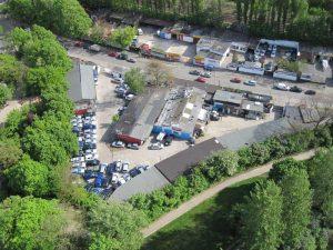 Cherusker-Dreieck mit Autowerkstätten von oben, 2010