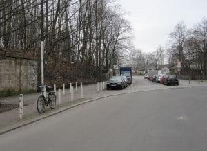 Torgauer Straße heute an der Stelle der früheren Cheruskerkurve
